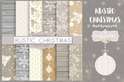Rustic christmas digital paper pack