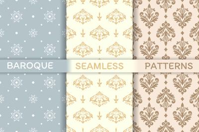 Set of Baroque seamless patterns