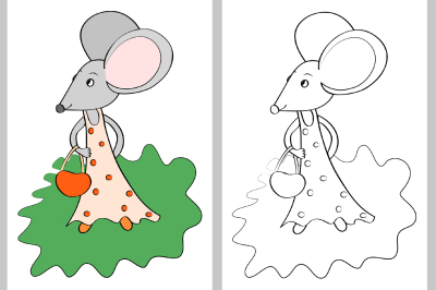 The image of the mouse in a sundress in the meadow, coloring book, two files, jpeg Format, A4, print, and two EPS 10 files, which can be used in any size without a loss.