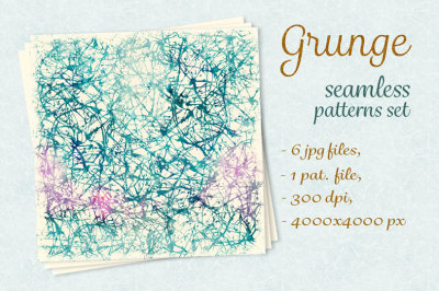 Grunge seamless patterns set