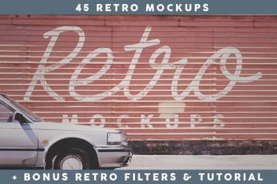 45 Retro Mockups (+BONUS)