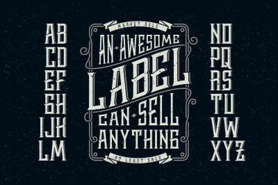 Whiskey label font + design elements