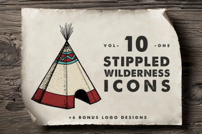 10 Stippled Wilderness Icons + Logos