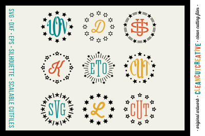 INTRODUCTION SALE SVG Monogram Frames svg Circle Monograms stars - SVG DXF EPS PNG