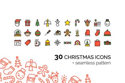 Christmas Icons + seamless pattern