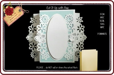 930 Fancy Floral Fold Out Card Multiple MACHINE Formats