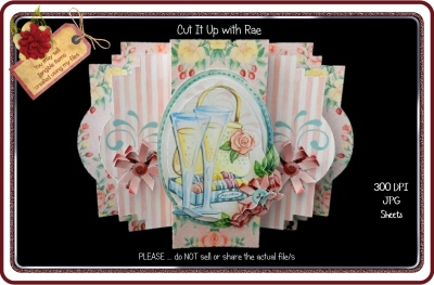 900 Champagne and Roses Center Pop Out Card KIT