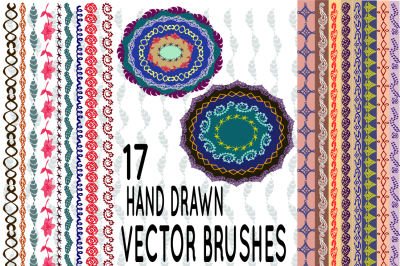17 hand drawn vector pattern brushes