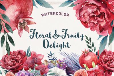 Watercolor Floral & Fruity Delight