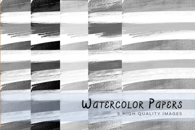 Black and White Watercolour Stripes Digital Papers, Black and White Digital Papers, Black and White Stripes, Stripes paper for invitations