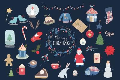 Cozy Christmas clip art set