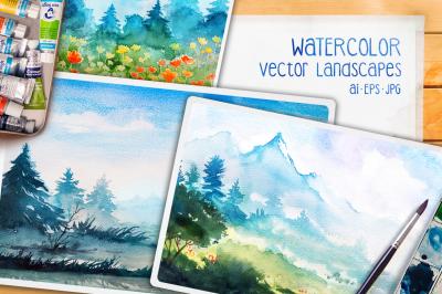Watercolor Vector Landscapes set#2