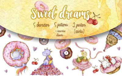 Sweet dreams -watercolor set