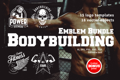 Bodybuilding logo templates. Discount inside