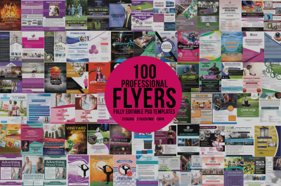 Bundle of 100 Flyers Template