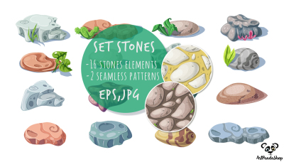set stones nature rocks, boulders. Vector object and seamless patterns