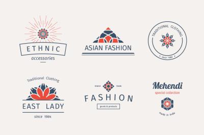 6 Fashion Logo Templates Vector Set