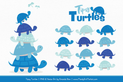 Sweet Stacks Tipsy Turtles Stack Clipart in Blue