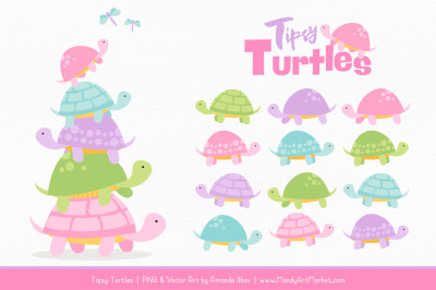 Sweet Stacks Tipsy Turtles Stack Clipart in Fresh Girl