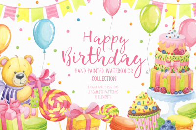 Happy Birthday hand painted watercolor collection