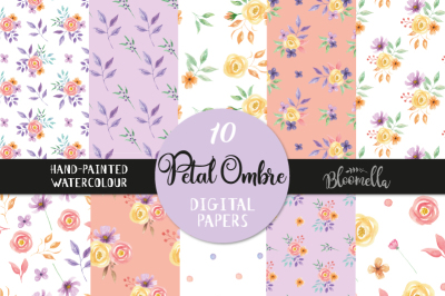 Petal Ombre Digital Patterns Purple Coral Seamless Patterns Spring
