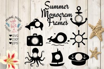 Summer Monogram Frames (SVG, DXF, EPS)