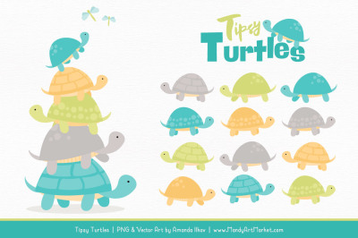 Sweet Stacks Tipsy Turtles Stack Clipart in Land & Sea
