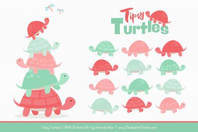 Sweet Stacks Tipsy Turtles Stack Clipart in Mint & Coral