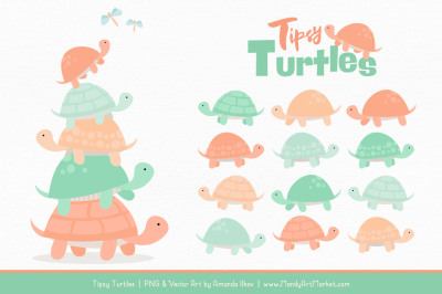 Sweet Stacks Tipsy Turtles Stack Clipart in Mint & Peach