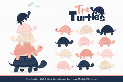 Sweet Stacks Tipsy Turtles Stack Clipart in Navy & Blush