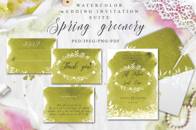 Greenery Watercolor Spring Wedding Invitation suite