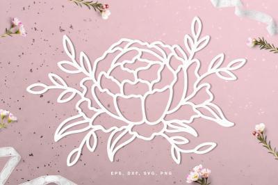 Floral peony digital cut file (svg, dxf, png, eps)