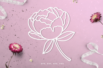 Floral peony digital cut file (svg, dxf, png, eps)