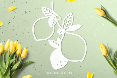 Lemon branch digital cut file (svg, dxf, png, eps)