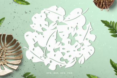 Monstera leaves digital cut file (svg, dxf, png, eps)