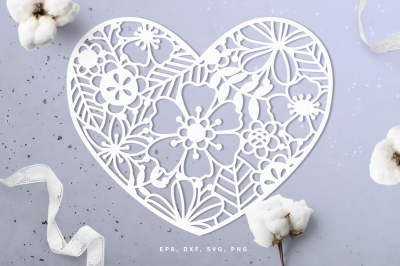 Floral heart digital cut file (svg, dxf, png, eps)
