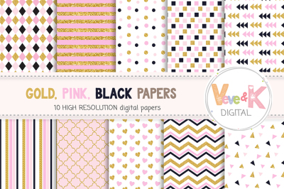 Gold Glitter and Pink Digital Papers | Gold Glitter Papers