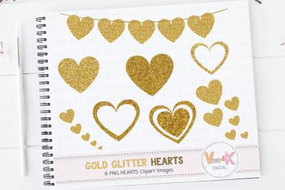 Gold Glitter Hearts Clipart | Gold Hearts