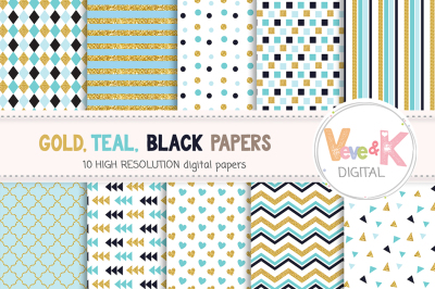 Gold and Mint Digital Paper Set | Gold and Mint Patterns