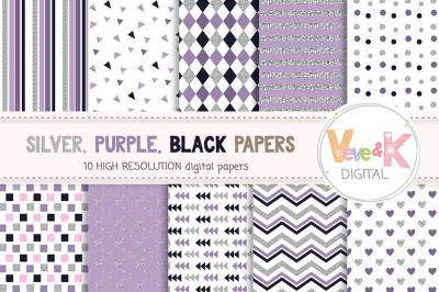 Silver and Purple Digital Paper Set | Faux Silver Glitter Patterns