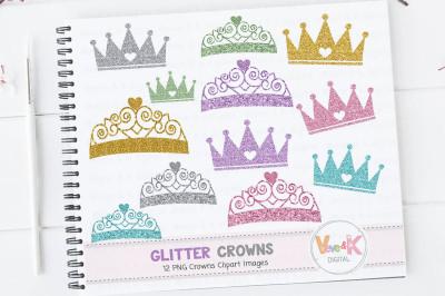 Crown Clipart | Glitter Crown Clipart Set