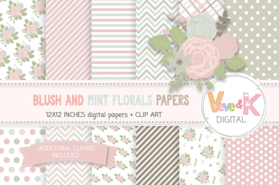 Blush and Mint Floral Papers | Blush and Mint Flowers Clipart