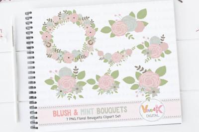 Blush and Mint Floral Bouquets Clipart Set