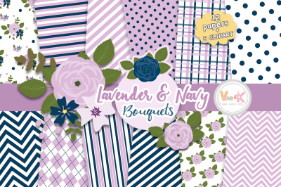Lavender and Navy Floral Bouquets Clipart and Digital Papers
