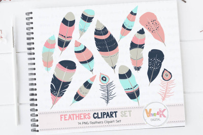 Feathers Clipart | Tribal Feathers Clipart Set