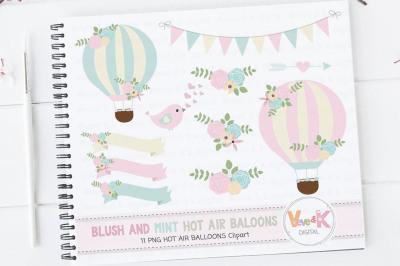 Hot Air Balloon Clipart Set | Blush and Mint Hot Air Balloons