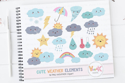 Weather Clipart Images | Weather Kawaii Clipart Set