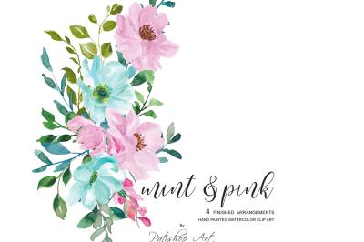 Watercolor Floral Arrangements Clipart