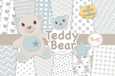 Blue and Gray Bears Clipart and Digital Papers Set