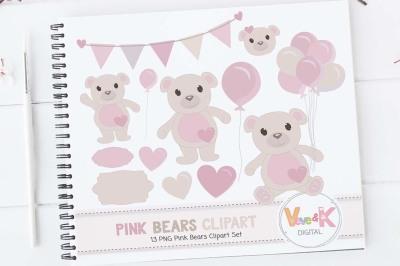 Pink Bears Clipart | Birthday Clipart Set